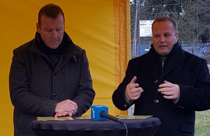 Burgemeester Guido Vaganée en Burgemeester Dominick Vansevenant
